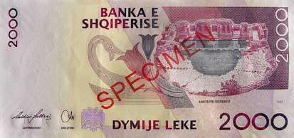 ALL rewers leka albańskiego (waluty Albanii)