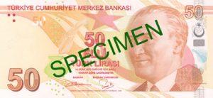 Lira turecka TRY – waluta Turcji (awers)