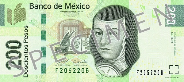Peso meksykańskie MXN - waluta Meksyku (awers)