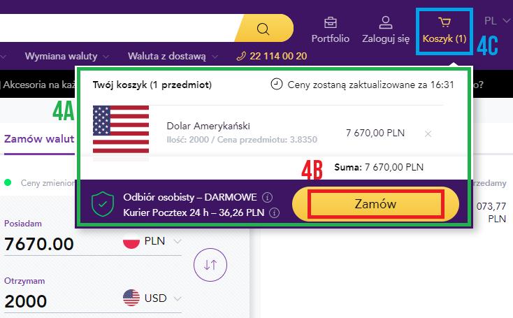 Obca waluta z dostawą do domu w Tavex