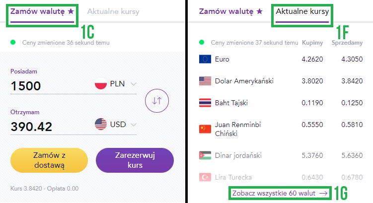 Dostawa waluty (krok 1)