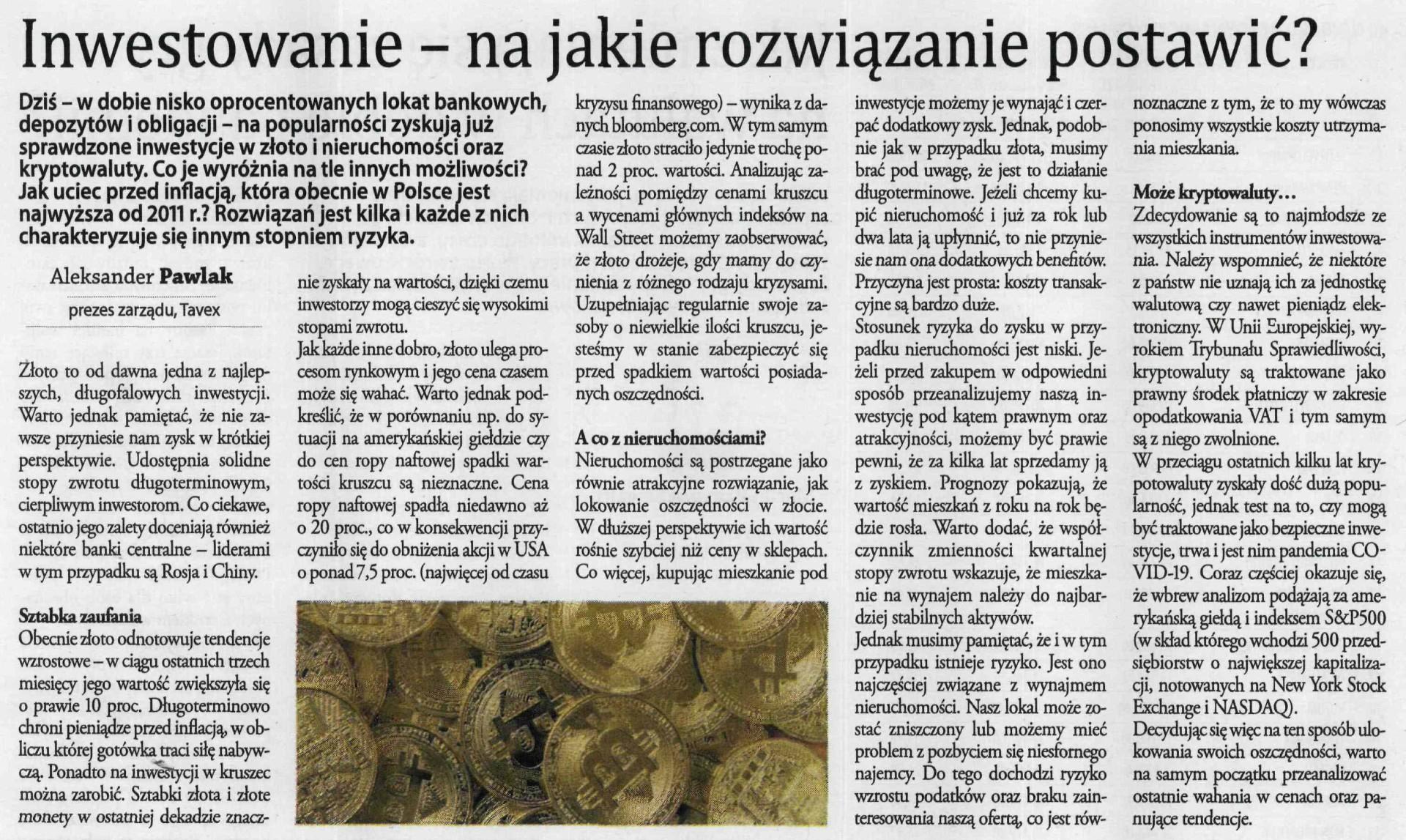 Aleksander Pawlak – Prezes Zarządu Tavex Sp. z o.o. – Gazeta Finansowa