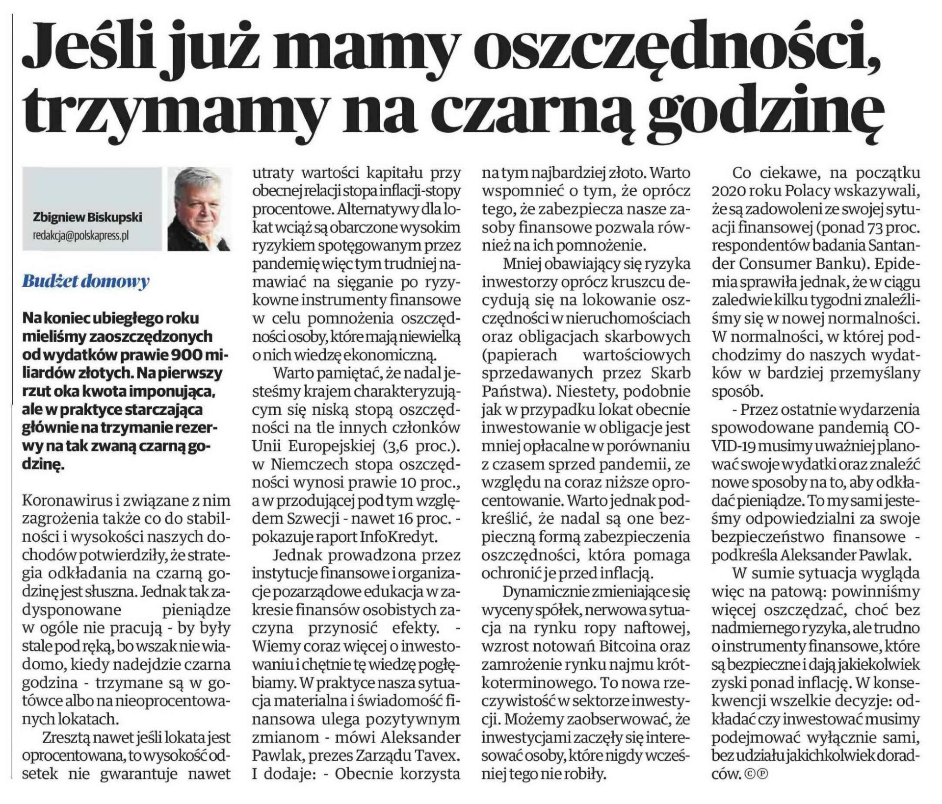 Aleksander Pawlak – Prezes Zarządu Tavex Sp. z o.o. – Gazeta Pomorska