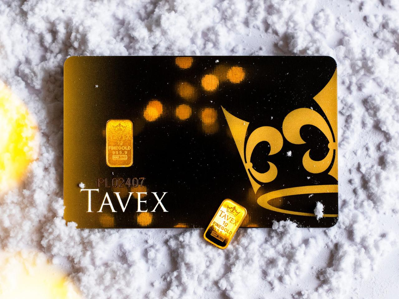 Sztabka złota Tavex 1 g – złoto na prezent na święta