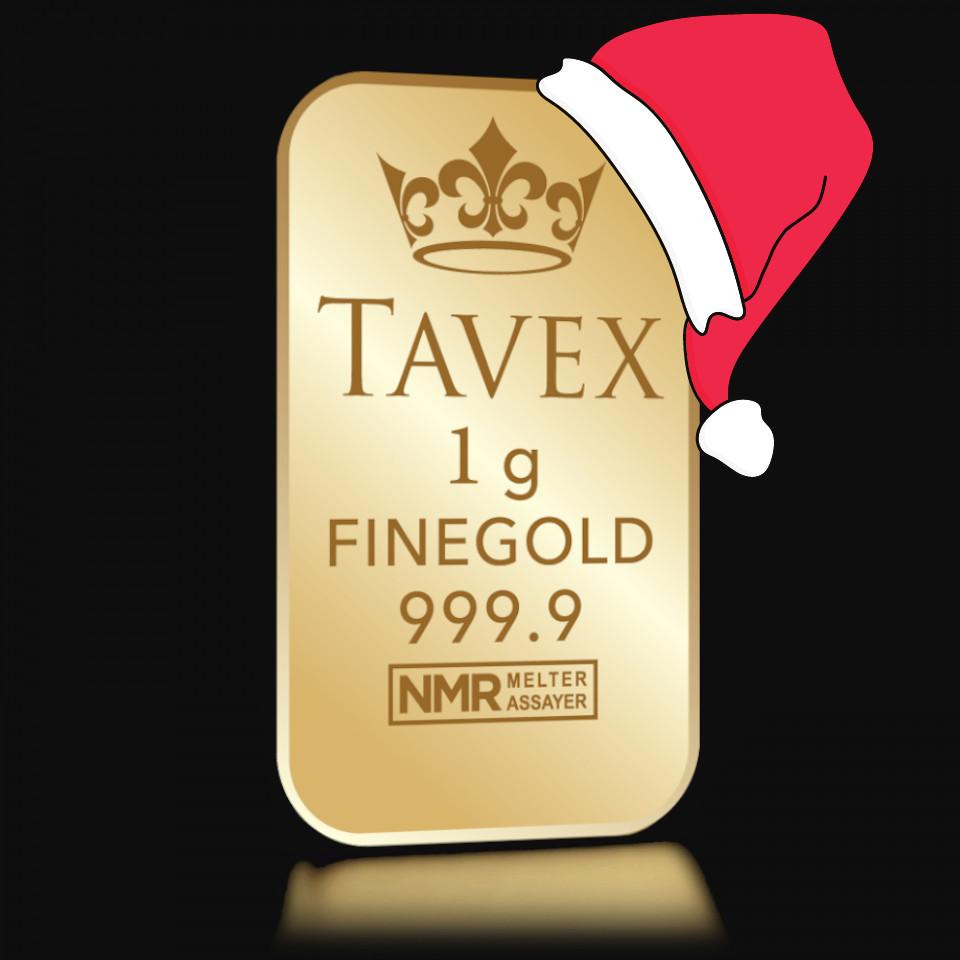 Złota sztabka Tavex 1 g – wersja świąteczna